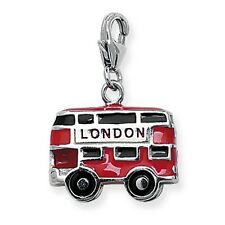 Sterling Silver Red London Bus Charm By Silver & Co