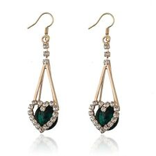 18K GOLD PLATED EMERALD & CLEAR AUSTRIAN CRYSTAL LONG DANGLE HEART EARRINGS