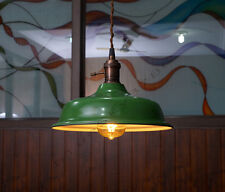 Industrial Green Porcelain Pendant Lamp Shade - Green Factory lampshade vintage