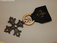 steampunk medal pin drape brooch badge gothic cross silver skull pirate LARP