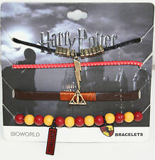 Harry Potter Deathly Hallows Gryffindor Charm 4 Pack Arm Party Cord Bracelet NEW