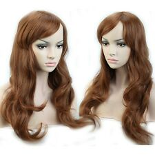 19'' Long Curly Wavy Wig Cosplay Full Wigs Cap Hair Nets Light Brown Theme Party