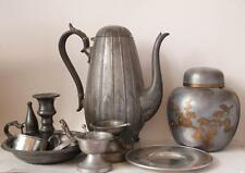Group of Eight Antique and Vintage Pewter Items incl. Coffee Pot and Candlestick