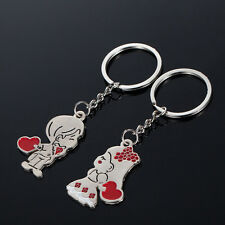 1 Par Good  Couple Gift Key Ring Fob Metal Bride Groom Heart Love Keychain TE
