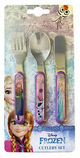 Disney Frozen 3 Piece Metal Cutlery Set Plastic Handles Knife Fork Spoon Child
