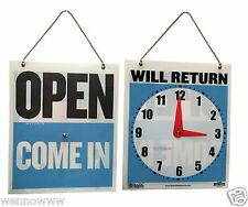 """""""OPEN"""" Sign, """"WILL RETURN"""" Clock Sign, 7.5""""x 9"""" for Office, Retail Store"""