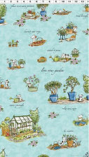 Fabric  Teal Cats in The Garden All Over Y1821-101 Clothworks clothwork new bty