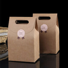 New 10 PSC Kraft Brown Paper Handle Shopping Gift Merchandise Carry Retail Bags
