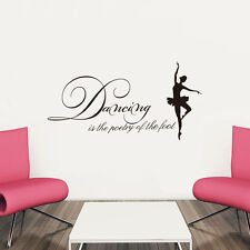 Dancing is the Poetry of the Foot... Dance Quote Home Wall Sticker