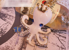 Charm Women Gold Plated Crown Cute Enamel Crystal Octopus Pendant Chain Necklace