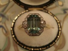 Exquisite Antique Art Deco; Platinum Set Blue Zircon & Diamonds 18CT Gold ring