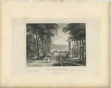 ANTIQUE BELGIUM PARK IN BRUSSELS QUAINT GARDEN POND WALKING PATH GIRL OLD PRINT