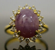 14Carat Yellow Gold Simulated Star Ruby & Diamond Halo Cluster Ring (Size P)