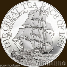 2016 Cook Islands - GREAT TEA RACE - 8 gram 39mm 2 Dollar .999 Silver Proof Coin