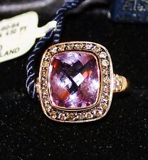 LEVIAN 14k Rose Gold PRINCESS ALEXANDRA Amethyst Chocolate Diamond Ring Size 7