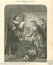 Personnages Shakespeare The Merchant of Venice Jew Shylock UK GRAVURE PRINT 1859