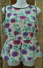 M&S LIMITED COLLECTION BNWT Floral Back Zip Peplum Top Size 12 RRP £35