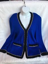 Amazing ST. JOHN COLLECTION BY MARIE GRAY Blue Royal Jacket Blazer Size 14 New