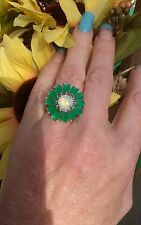 Columbian Emerald & White Opal Flower Cluster Ring, Rhodium/925 Silver, size 7