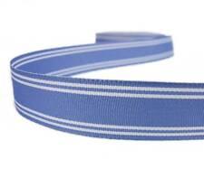 "5 Yds Sky Blue White Striped Grosgrain Ribbon 7/8""W"