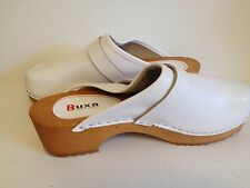 Women's Wooden Leather White Swedish Style Clogs Slip Resistant Size 7.5