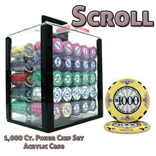 NEW 1000 PC Scroll Ceramic 10 Gram Poker Chips Acrylic Carrier Case Set Custom