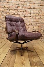 60s Retro EASY CHAIR DANISH MODERN LEATHER SWIVEL ARMCHAIR DENMARK Vintage
