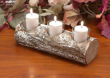 Yule log rustic 3 candle holder, wooden christmas log holder, xmas log holder