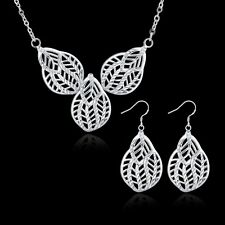 925 Sterling Silver Plated Women Leaf Earrings Necklace Bride Jewelry Sets
