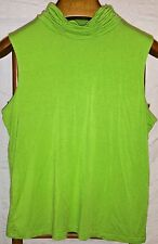 Bay Studio Bright Green Sleeveless Turtleneck Top XL Career Ruffle Collar Work