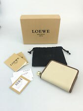 Loewe Coin Purse Stone/Ox Zip-Up Wallet Tan Brown Designer Authentic