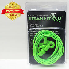 TitanFit4U Lock 'N' Clip Laces - Premium Elastic No Tie Shoelaces (Neon Green)