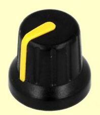 20 pcs. Poti-Knopf Drehknopf Achse: 6mm schwarz Zeiger: gelb  Höhe: 14mm