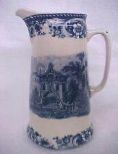 Blue Transferware Victorian Porcelain China Castle Tall Pitcher Collectible New