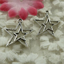 free ship 100 pieces Antique silver star charms 23x20mm #3964