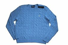Polo Ralph Lauren Cable-Knit V-neck Sweater in Size XXL in Blue w/yellow horse