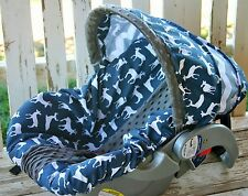 navy blue deer w/ gray chevron and gray minky infant car seat cover and hood