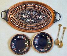 Vintage TURKISH Ornate Blue Enamelled Floral Tray , Saucers & Spoons