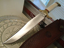 Timber Rattler Frontier Full Tang Bowie Hunter Knife Bone Scalloped Brass TR138
