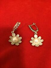 Cute Floral Dangling White Pearl cz GP Sterling Silver Flower Earrings