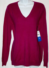 Magaschoni Ladies 100% Cashmere V-Neck Sweater~Mulberry~Medium~NWT~Very Chic