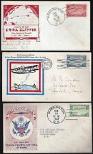 US 1935 37 CHINA CLIPPER Sc C20 C21 C22 ON THREE FDC RARE CACHETS