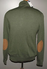 DANIEL CREMIEUX  NWT Green S  Sweater S 100% Merino Wool Button Elbow Patches