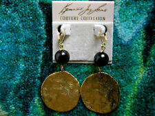 Kenneth Jay Lane Wood Large Satin Gold Hammered Coin Drop Pierced Earrings