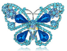 Deep Aqua Blue Sapphire Crystal Rhinestone Fairytale Butterfly Insect Brooch Pin