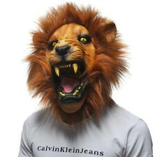 Angry Lion Head Scary Halloween Party Facial Mask Latex Animals Cosplay Prop