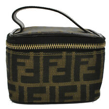 Authentic FENDI Zucca Pattern Small Cosmetic Hand Bag Brown Vintage GHW B28818b