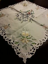 """33""""x33"""" Square  Embroidered Christmas Cutwork Tablecloth Home Gift Decor"""
