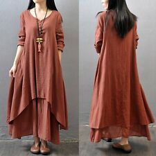 Fashion Women Ethnic Boho Cotton Linen Long Sleeve Maxi Dress Gypsy Blouse Shirt