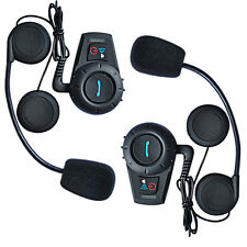 2x BT Motorcycle Bluetooth Intercom Headset Helmet Communicator 500m + FM Radio